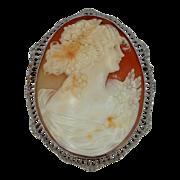 Large 10k White Gold Filigree Cameo Brooch / Pendant