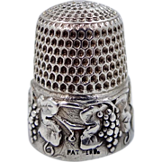 """Simons Sterling Silver """"Grapes"""" Thimble Vines & Leaves"""