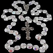HUGE Sterling Silver Aurora Borealis Beads Rosary 132 Grams