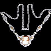 Art Deco 14k White Gold Filigree Tri-Color Cameo Necklace