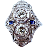 20k White Gold 1.25 Carat Diamonds & 2 Sapphires Filigree Ring