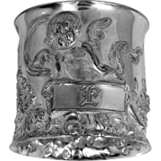 "Victorian 1 3/4"" Wide Silverplate Cherub Napkin Ring"