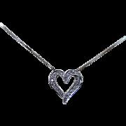 14k White Gold Diamond Heart Shaped Necklace