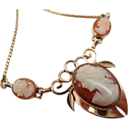 1950's Gold Filled Triple Cameo Necklace Carved Shell