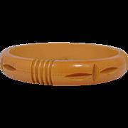 "1/2"" Wide Bakelite Carved Butterscotch Bangle Bracelet"