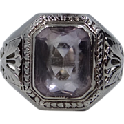 Art Deco 14k White Gold Amethyst Ring Circa 1920's
