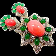 JOMAZ Faux Coral & Chrysoprase Rhinestone Brooch & Matching Earrings Joseph Mazer