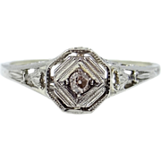 14k White Gold Diamond Filigree Art Deco Ring