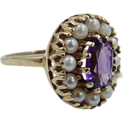 14k Gold Seed Pearls & Amethyst Victorian Revival Ring