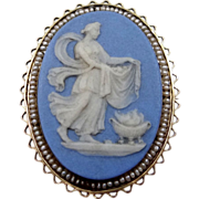 Victorian 10k Seed Pearls & Wedgwood Cameo Pin / Pendant