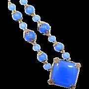 1920's Signed Czechoslovakia Blue Chalcedony Glass Necklace