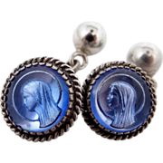 Unusual 1920s Sterling Silver Religious Crystal Cufflinks Cuff Links