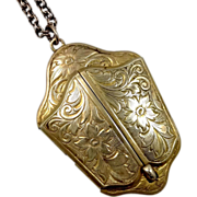 """WWII 2 Door Etched Gold Filled Locket & Chain """"Buddy"""""""