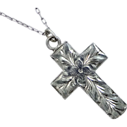 Vintage Finely Etched Cross & Sterling Chain