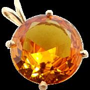14k Gold Pendant with 14 Carat Golden Topaz Solitaire