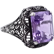 SOLD Beautiful Sterling Filigree 6 Carat Amethyst Ladies Size 9 1/2 Ring