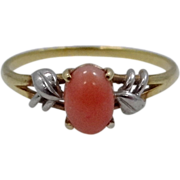 SALE PENDING 18k Gold Platinum & Coral Ladies Ring