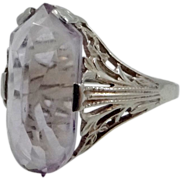 14k White Gold Filigree Ring w/Custom Cut Amethyst