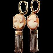 1930's Leverback Cameo Dangle Earrings