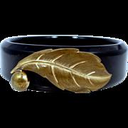 Vintage Black Bakelite Bangle Bracelet with Metal Accents