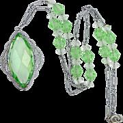 1920s Rhodium Plated Peridot Green Crystals Filigree Necklace