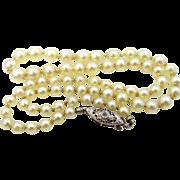 18k White Gold Diamond Pearl Necklace