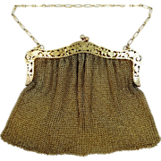 Edwardian Sterling Silver with Gold Wash Mesh Purse