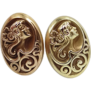 SALE 14k Gold Art Nouveau Cuff Links Woman's Profile Cufflinks