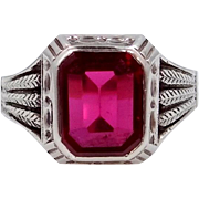 14k White Gold and Synthetic Ruby Man's Art Deco Ring