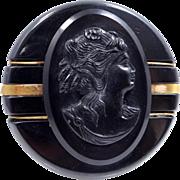 Black Bakelite Cameo Brooch with Metal Decorations