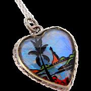 Vintage Butterfly Wings Heart Shaped Pendant