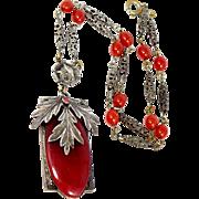 1920's Czechoslovakia Carnelian Glass Necklace With Rose Motif