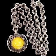 Lemon Yellow Peking Glass Art Deco Necklace