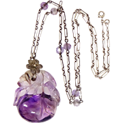 Art Deco Carved Natural Amethyst Sterling Silver Necklace