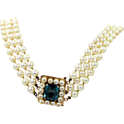 1920s 14k Gold 6 Carat Blue Topaz and 3 Cultured Pearls Choker Necklace