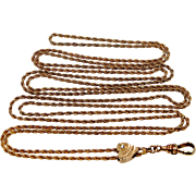 10k Gold and Diamond Victorian Slide on Gold Filled Rope Chain