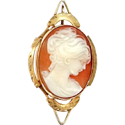 14k Gold Cameo Pendant Beautifully Carved