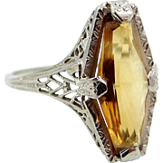 "14k White Gold Filigree ""Coffin"" Shaped Citrine Art Deco Ring"