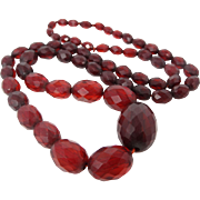 """28"""" Long Faceted Cherry Lucite Bead Necklace"""