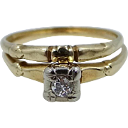 Vintage 14k Gold Diamond Stacking Ring Set Engagement Ring AND Wedding Band