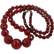 """Art Deco Faceted Cherry Amber Bakelite 26"""" Long Necklace Round Beads"""