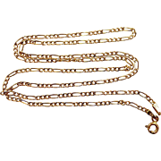 """14k Gold 20"""" Long Figaro Pattern Necklace Chain"""