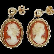 Nice Carved Shell Cameo Earrings for Pierced Ears