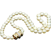 Cultured Pearl Necklace With Heavy 14k Gold and Diamonds Clasp