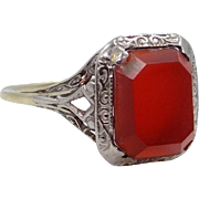 14k White and Yellow Gold Filigree Art Deco Carnelian Ring