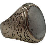 1940s Siam Sterling Silver & Gold Overlay Trench Art Navy Ring