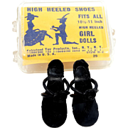 "1950s Fairlyand High Heeled Doll Shoes 10 1/2"" - 11"" Dolls"