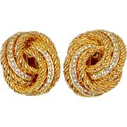 Christian Dior Love Knot Rope and Crystals Clip on Earrings Chr.Dior