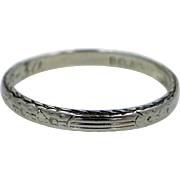 BELAIS 14k Solid White Gold Art Deco Stacking Ring or Wedding Band