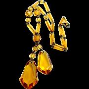 Czechoslovakia Topaz Glass Necklace Signed